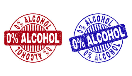 Grunge 0% ALCOHOL round stamp seals isolated on a white background. Round seals with grunge texture in red and blue colors. Vector rubber watermark of 0% ALCOHOL title inside circle form with stripes. Illustration