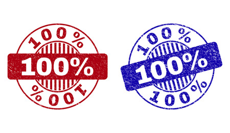 Grunge 100% round stamp seals isolated on a white background. Round seals with grunge texture in red and blue colors. Vector rubber overlay of 100% caption inside circle form with stripes.