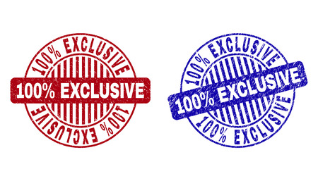Grunge 100% EXCLUSIVE round stamp seals isolated on a white background. Round seals with distress texture in red and blue colors. Illustration