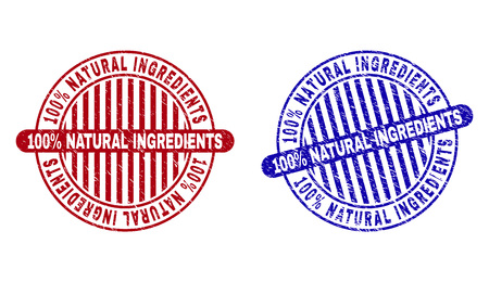 Grunge 100% NATURAL INGREDIENTS round stamp seals isolated on a white background. Round seals with grunge texture in red and blue colors.