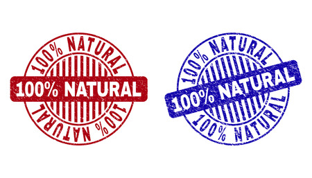 Grunge 100% NATURAL round stamp seals isolated on a white background. Round seals with grunge texture in red and blue colors. Illustration