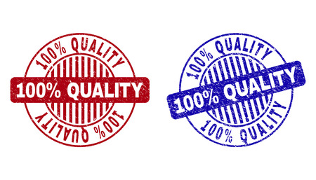 Grunge 100% QUALITY round stamp seals isolated on a white background. Round seals with grunge texture in red and blue colors.