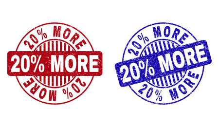 Grunge 20% MORE round stamp seals isolated on a white background. Round seals with distress texture in red and blue colors. Vector rubber imprint of 20% MORE tag inside circle form with stripes.