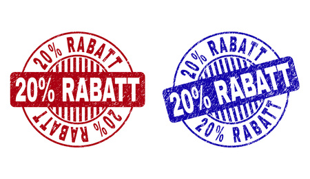 Grunge 20% RABATT round stamp seals isolated on a white background. Round seals with distress texture in red and blue colors. Vector rubber overlay of 20% RABATT tag inside circle form with stripes. Standard-Bild - 124114448