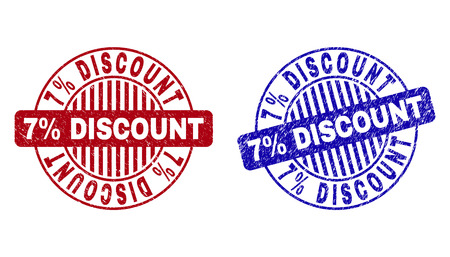 Grunge 7% DISCOUNT round stamp seals isolated on a white background. Round seals with grunge texture in red and blue colors. Vector rubber imitation of 7% DISCOUNT tag inside circle form with stripes.