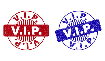 Grunge V.I.P. round stamp seals isolated on a white background. Round seals with grunge texture in red and blue colors. Vector rubber imitation of V.I.P. title inside circle form with stripes.