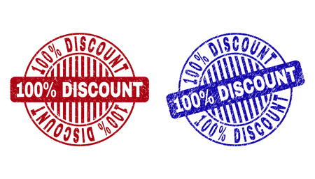 Grunge 100% DISCOUNT round stamp seals isolated on a white background. Round seals with grunge texture in red and blue colors. Illustration