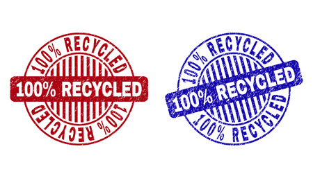 Grunge 100% RECYCLED round stamp seals isolated on a white background. Round seals with distress texture in red and blue colors. Vettoriali