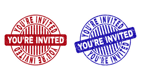 Grunge YOURE INVITED round stamp seals isolated on a white background. Round seals with grunge texture in red and blue colors.