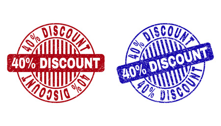 Grunge 40% DISCOUNT round stamp seals isolated on a white background. Round seals with grunge texture in red and blue colors. Stock Illustratie