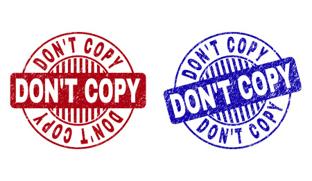 Grunge DON'T COPY round stamp seals isolated on a white background. Round seals with grunge texture in red and blue colors. Vector rubber imitation of DON'T COPY title inside circle form with stripes.