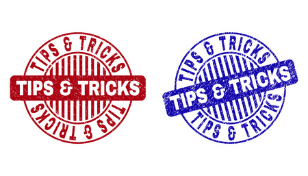 Grunge TIPS & TRICKS round stamp seals isolated on a white background. Round seals with grunge texture in red and blue colors.