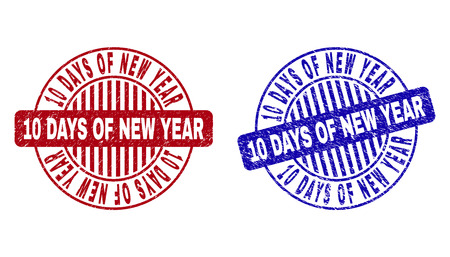 Grunge 10 DAYS OF NEW YEAR round stamp seals isolated on a white background. Round seals with grunge texture in red and blue colors.
