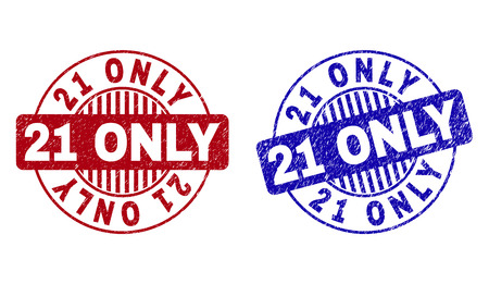 Grunge 21 ONLY round stamp seals isolated on a white background. Round seals with grunge texture in red and blue colors. Vector rubber overlay of 21 ONLY title inside circle form with stripes.