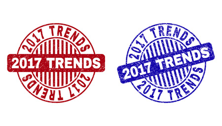 Grunge 2017 TRENDS round stamp seals isolated on a white background. Round seals with grunge texture in red and blue colors. Vector rubber imitation of 2017 TRENDS tag inside circle form with stripes.