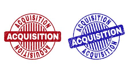 Grunge ACQUISITION round stamp seals isolated on a white background. Round seals with grunge texture in red and blue colors. Vector rubber imprint of ACQUISITION tag inside circle form with stripes.