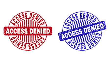 Grunge ACCESS DENIED round stamp seals isolated on a white background. Round seals with grunge texture in red and blue colors. Banque d'images - 124114538