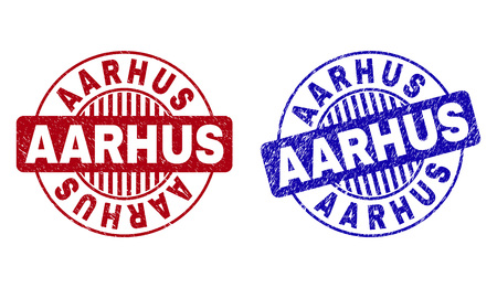 Grunge AARHUS round stamp seals isolated on a white background. Round seals with grunge texture in red and blue colors. Vector rubber overlay of AARHUS text inside circle form with stripes. Illustration