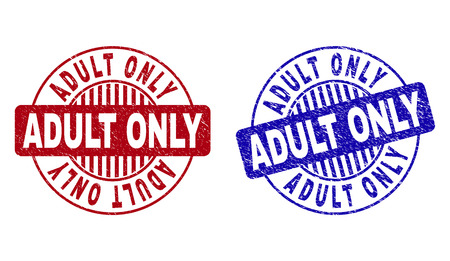 Grunge ADULT ONLY round stamp seals isolated on a white background. Round seals with grunge texture in red and blue colors. Vector rubber overlay of ADULT ONLY caption inside circle form with stripes. Stock Illustratie