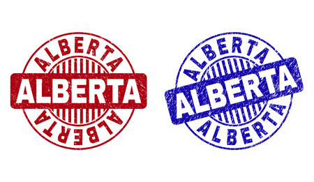 Grunge ALBERTA round stamp seals isolated on a white background. Round seals with grunge texture in red and blue colors. Vector rubber watermark of ALBERTA tag inside circle form with stripes. 일러스트