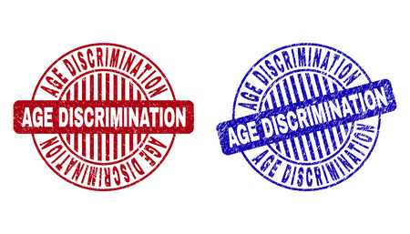 Grunge AGE DISCRIMINATION round stamp seals isolated on a white background. Round seals with grunge texture in red and blue colors. Illustration