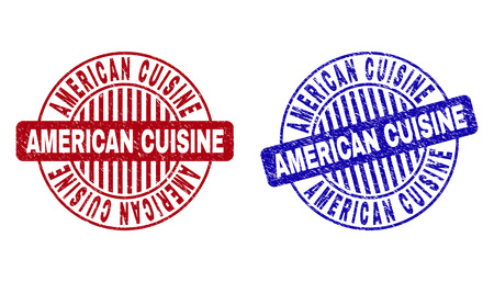 Grunge AMERICAN CUISINE round stamp seals isolated on a white background. Round seals with distress texture in red and blue colors.