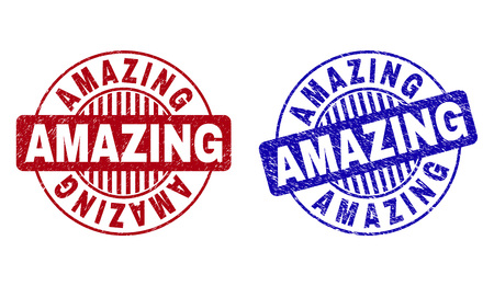 Grunge AMAZING round stamp seals isolated on a white background. Round seals with distress texture in red and blue colors. Vector rubber watermark of AMAZING tag inside circle form with stripes. Ilustração