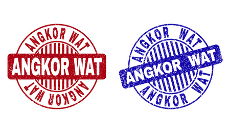 Grunge ANGKOR WAT round stamp seals isolated on a white background. Round seals with grunge texture in red and blue colors. Vector rubber overlay of ANGKOR WAT caption inside circle form with stripes.