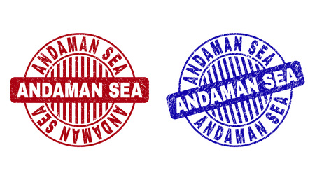 Grunge ANDAMAN SEA round stamp seals isolated on a white background. Round seals with grunge texture in red and blue colors. Vector rubber watermark of ANDAMAN SEA tag inside circle form with stripes.