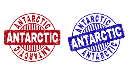 Grunge ANTARCTIC round stamp seals isolated on a white background. Round seals with grunge texture in red and blue colors. Vector rubber overlay of ANTARCTIC title inside circle form with stripes.