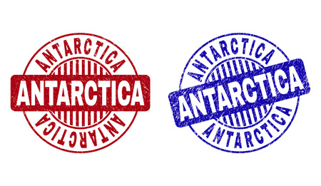 Grunge ANTARCTICA round stamp seals isolated on a white background. Round seals with grunge texture in red and blue colors. Vector rubber overlay of ANTARCTICA text inside circle form with stripes.