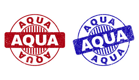 Grunge AQUA round stamp seals isolated on a white background. Round seals with grunge texture in red and blue colors. Vector rubber watermark of AQUA title inside circle form with stripes.