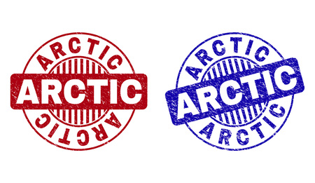 Grunge ARCTIC round stamp seals isolated on a white background. Round seals with grunge texture in red and blue colors. Vector rubber imitation of ARCTIC tag inside circle form with stripes.