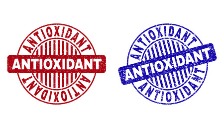 Grunge ANTIOXIDANT round stamp seals isolated on a white background. Round seals with distress texture in red and blue colors.