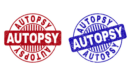 Grunge AUTOPSY round stamp seals isolated on a white background. Round seals with grunge texture in red and blue colors. Vector rubber imprint of AUTOPSY caption inside circle form with stripes.