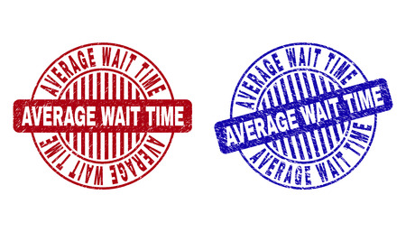 Grunge AVERAGE WAIT TIME round stamp seals isolated on a white background. Round seals with grunge texture in red and blue colors.