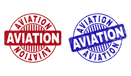 Grunge AVIATION round stamp seals isolated on a white background. Round seals with grunge texture in red and blue colors. Vector rubber imprint of AVIATION text inside circle form with stripes.
