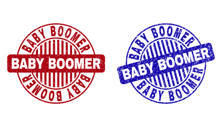 Grunge BABY BOOMER round stamp seals isolated on a white background. Round seals with grunge texture in red and blue colors. Illustration