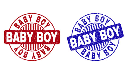 Grunge BABY BOY round stamp seals isolated on a white background. Round seals with grunge texture in red and blue colors. Vector rubber imitation of BABY BOY label inside circle form with stripes. Illustration