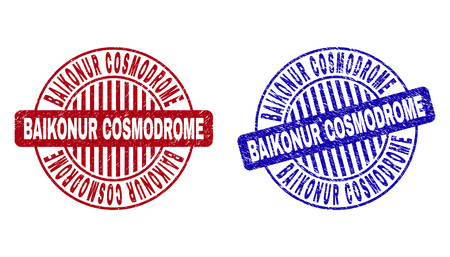 Grunge BAIKONUR COSMODROME round stamp seals isolated on a white background. Round seals with grunge texture in red and blue colors.
