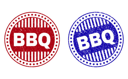 Grunge BBQ round stamp seals isolated on a white background. Round seals with grunge texture in red and blue colors. Vector rubber imitation of BBQ text inside circle form with stripes.