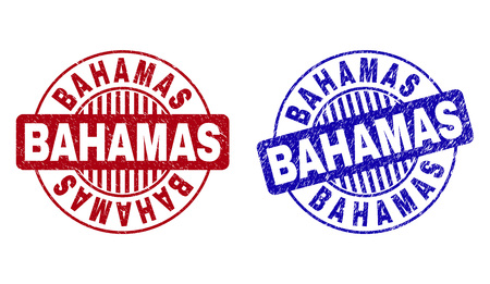 Grunge BAHAMAS round stamp seals isolated on a white background. Round seals with grunge texture in red and blue colors. Vector rubber watermark of BAHAMAS caption inside circle form with stripes. Ilustrace