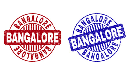 Grunge BANGALORE round stamp seals isolated on a white background. Round seals with grunge texture in red and blue colors. Vector rubber imitation of BANGALORE tag inside circle form with stripes.