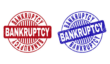 Grunge BANKRUPTCY round stamp seals isolated on a white background. Round seals with grunge texture in red and blue colors. Vector rubber imprint of BANKRUPTCY text inside circle form with stripes.
