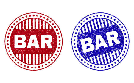 Grunge BAR round stamp seals isolated on a white background. Round seals with grunge texture in red and blue colors. Vector rubber imprint of BAR label inside circle form with stripes.