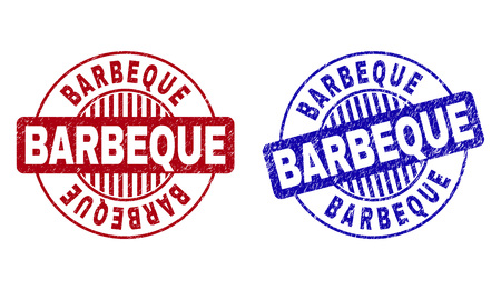 Grunge BARBEQUE round stamp seals isolated on a white background. Round seals with grunge texture in red and blue colors. Vector rubber watermark of BARBEQUE label inside circle form with stripes.