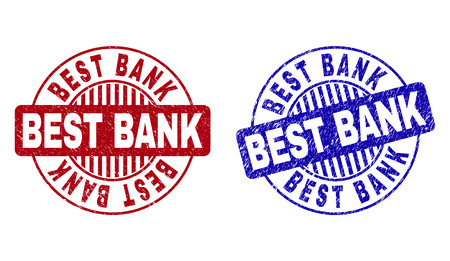 Grunge BEST BANK round stamp seals isolated on a white background. Round seals with distress texture in red and blue colors. Vector rubber overlay of BEST BANK title inside circle form with stripes.