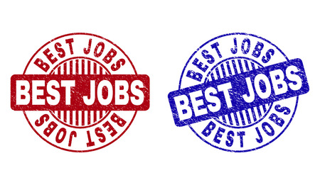 Grunge BEST JOBS round stamp seals isolated on a white background. Round seals with distress texture in red and blue colors. Vector rubber overlay of BEST JOBS label inside circle form with stripes.