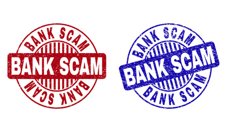 Grunge BANK SCAM round stamp seals isolated on a white background. Round seals with grunge texture in red and blue colors. Vector rubber watermark of BANK SCAM text inside circle form with stripes.