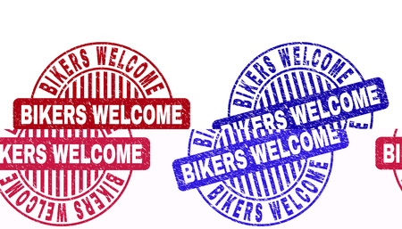 Grunge BIKERS WELCOME round stamp seals isolated on a white background. Round seals with grunge texture in red and blue colors.
